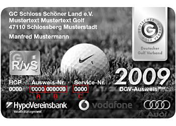 DGV Ausweis des Heimatclubs: A - Nummer des Golfclubs im DGV -- B - eigene Mitgliedsnummer im Club -- C - 4-stellige Servicenummer