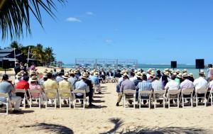 Offizielle Bekanntgabe zur AfrAsia Bank Mauritius Open am Strand des C Beach Club im Heritage Resort