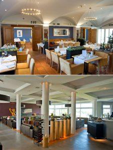 Oben das gemütliche Interieur des Restaurants Giorgios, unten die luftige Einrichtung der Kaminlounge