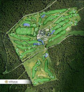 In der Übersicht: Gesamtes Areal und Platzlayout des Hofgutes Georgenthal - by Althaus Golfdesign