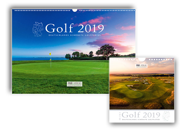 Der Golfkalender 2019 - in nun schon der 19. Ausgabe - glänzt im großen Panoramaformat oder als kleiner Mini-Golfkalender