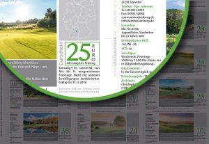 Für jeden abgebildeten Golfplatz im Kalender gibt es nun einen Gutschein in Form verschiedener Nachlässe