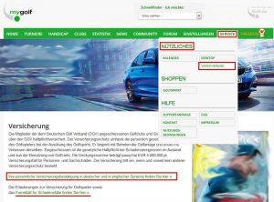 Fundstelle der DGV Versicherungsbestätigung unter mygolf.de